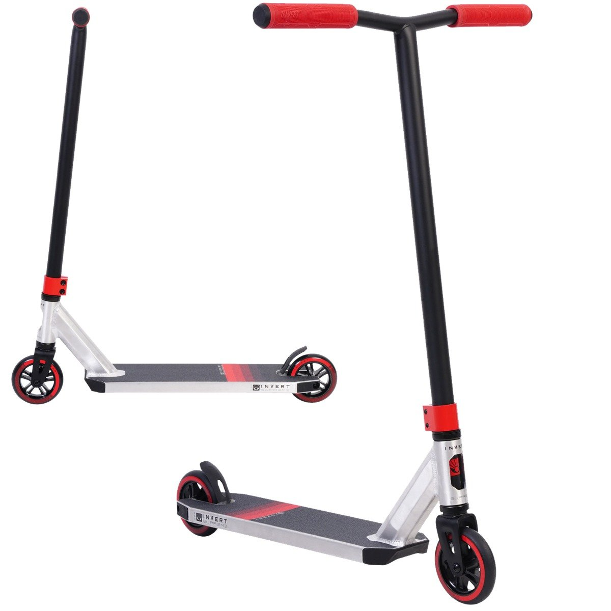 An image of Invert Supreme 2-8-13 Stunt Scooter - Raw Chrome / Black / Red