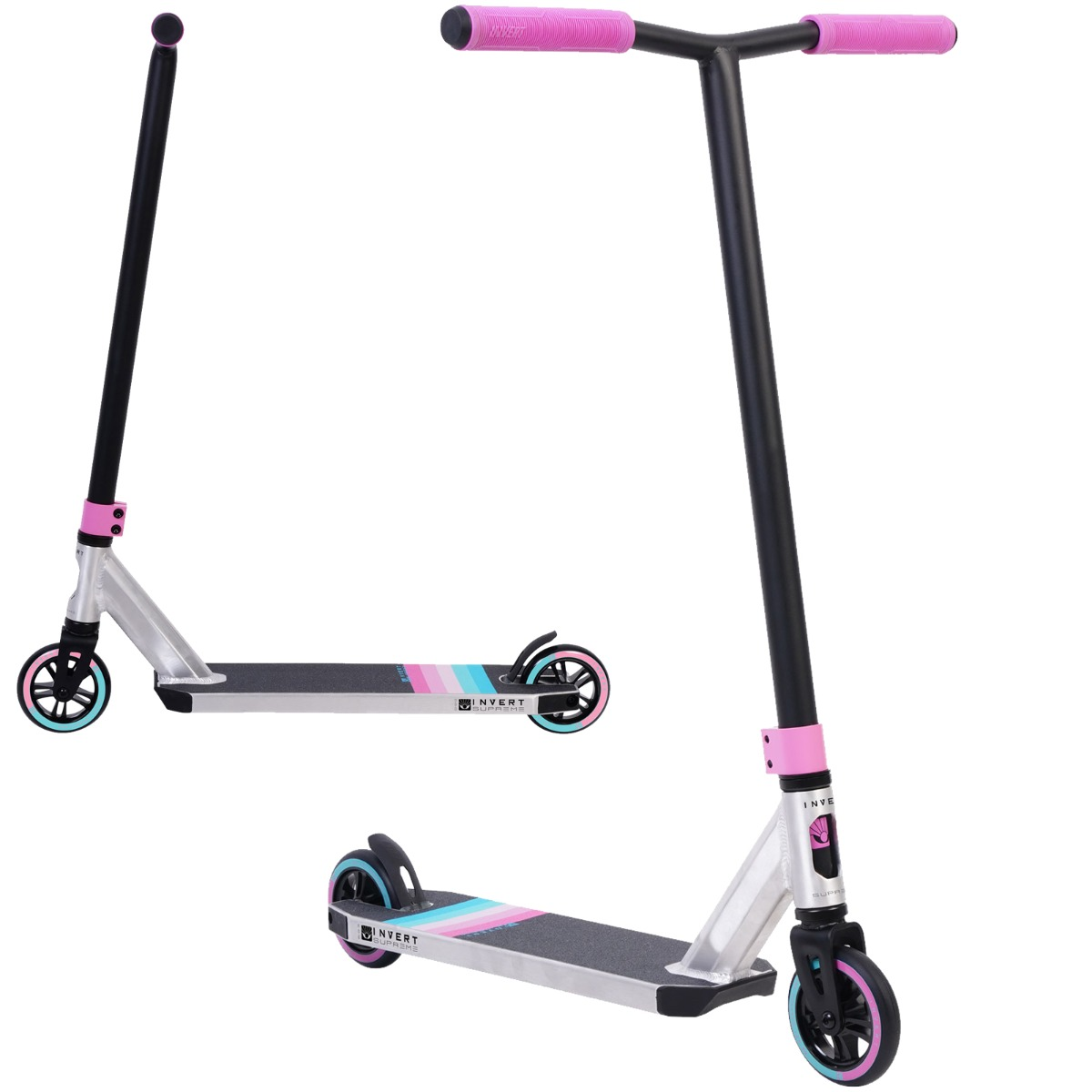 An image of Invert Supreme 2-8-13 Stunt Scooter - Raw Chrome / Black / Pink