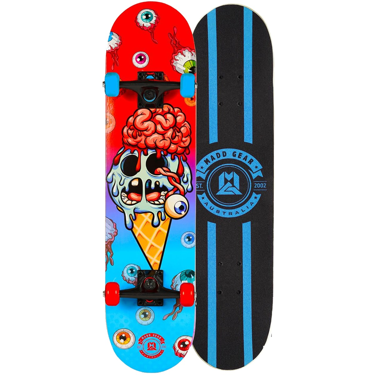 "An image of Madd Gear MGP Pro Series Brain Freeze Red Blue Skateboard – 31"" x 8"" - LIM..."