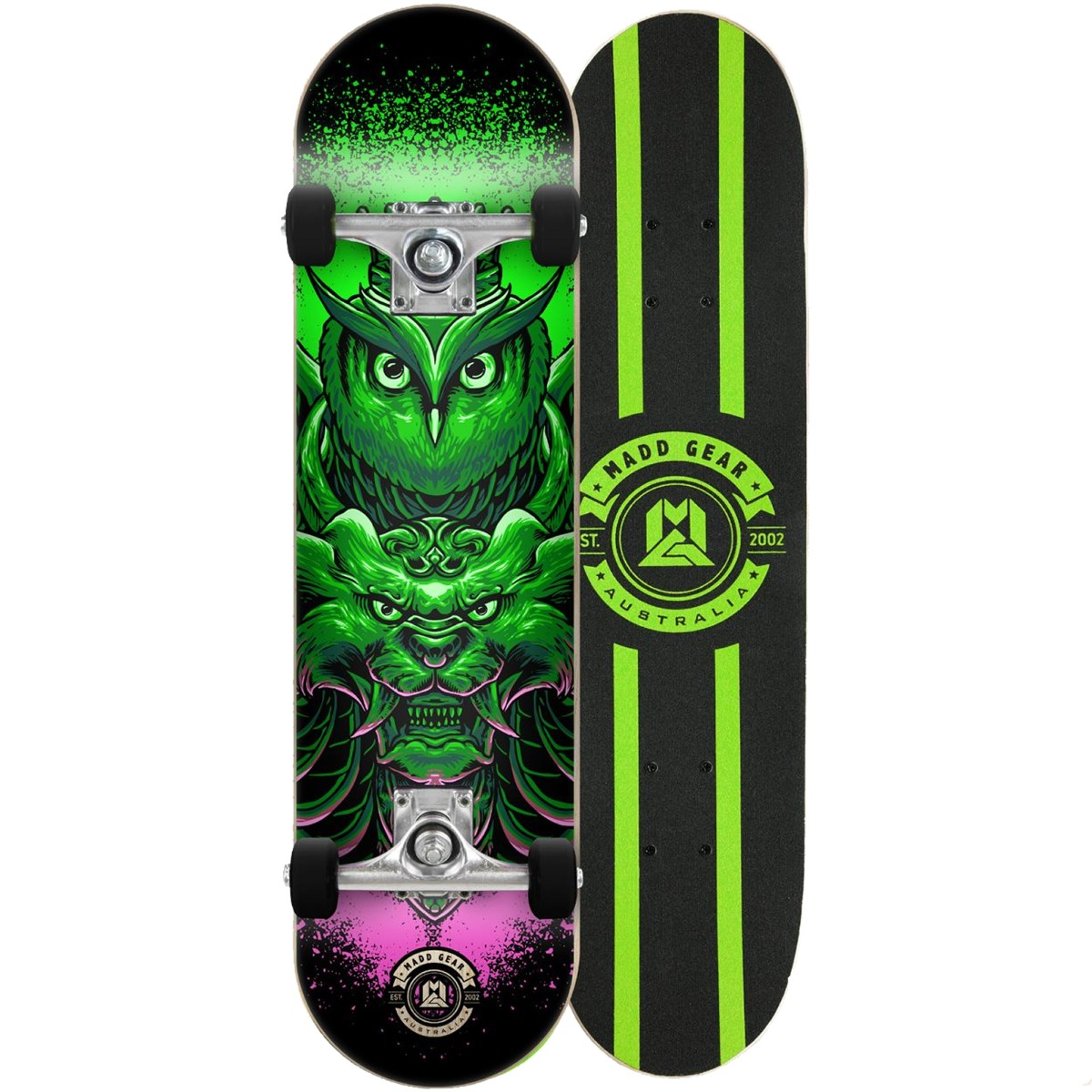 "An image of Madd Gear MGP Pro Series Bubo Green Skateboard – 31"" x 8"""