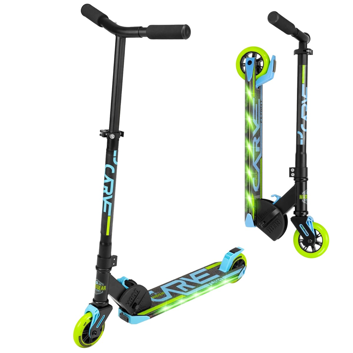An image of Madd Gear Carve Flight Light up Foldable Scooter - Blue / Lime