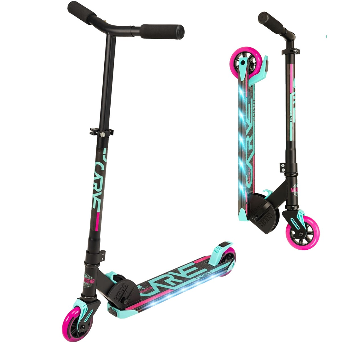 An image of Madd Gear Carve Flight Light up Foldable Scooter - Teal / Pink