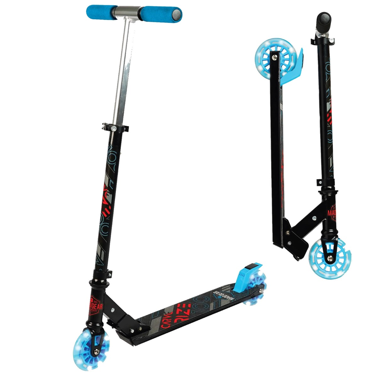 An image of Madd Gear Carve Rize Foldable Light up Wheel Scooter - Black / Blue