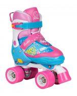 Rookie Adjustable Fab Blue / Pink Quad Roller Skates