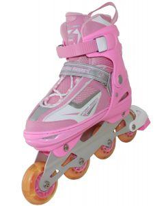 African Leopard Adjustable Inline Skates - Pink