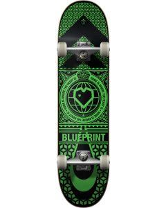 "Blueprint Home Heart Black Green Complete Skateboard - 31.5"" x 8"""