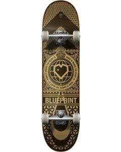 "Blueprint Home Heart Black V2 Gold Complete Skateboard - 31.5"" x 8"""