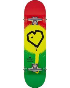 """Blueprint Spray Heart V2 Rasta Complete Skateboard - 31.5"""" x 8"""""""