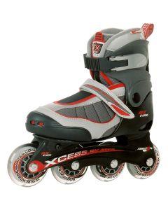 Xcess MX S1000 Black Grey Red Adjustable Inline Skates / Rollerblades