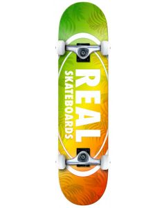 """Real Island Ovals 7.75"""" Complete Skateboard - Red / Yellow / Green"""