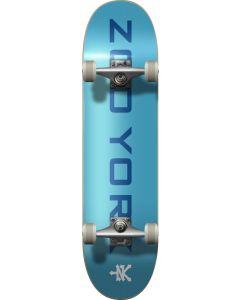 "Zoo York Logo Block Blue White Complete Skateboard - 31.5""  x 8"""