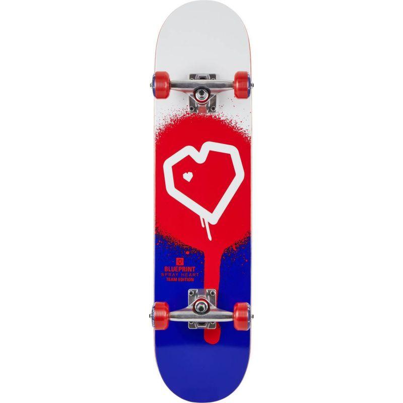 "Blueprint Spray Heart V2 Red Blue Complete Skateboard - 31.125"" x 7.5"""