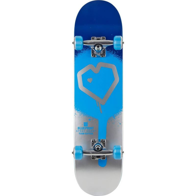 """Blueprint Spray Heart V2 Blue Silver Complete Skateboard - 31.5"""" x 8.25"""""""