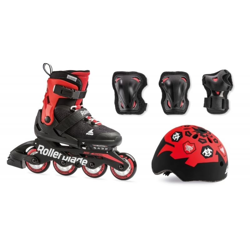 B-STOCK Rollerblade 2019 Cube Inline Skates & Protection Pack - Black / Red UK4-7