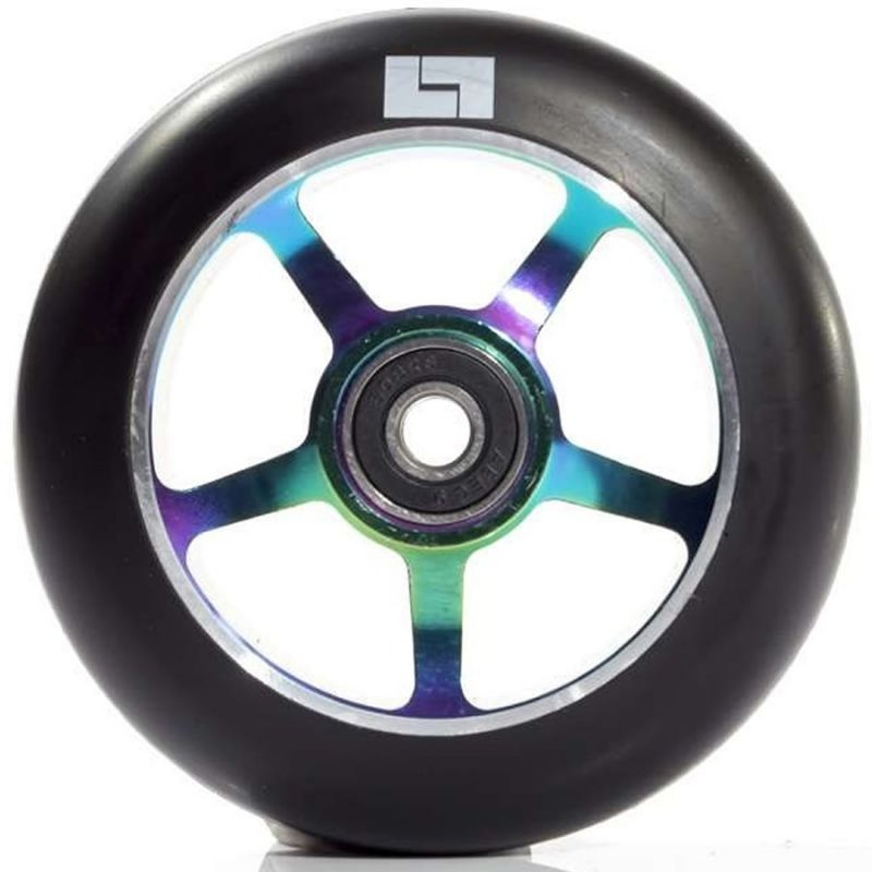 Logic 5 Spoke 100mm Scooter Wheel - Black / Neochrome Rainbow Oil Slick