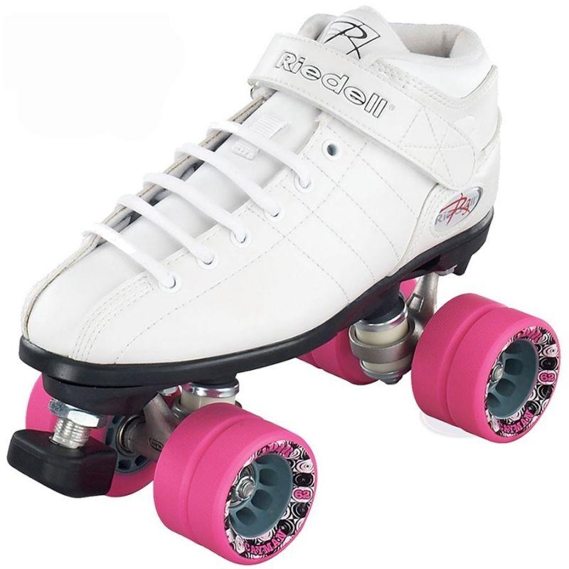 Riedell R3 White Derby Roller Quad Skates