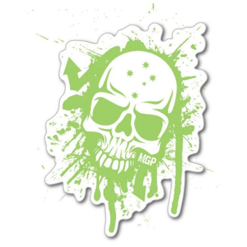 Madd MGP Green / White Skull Sticker