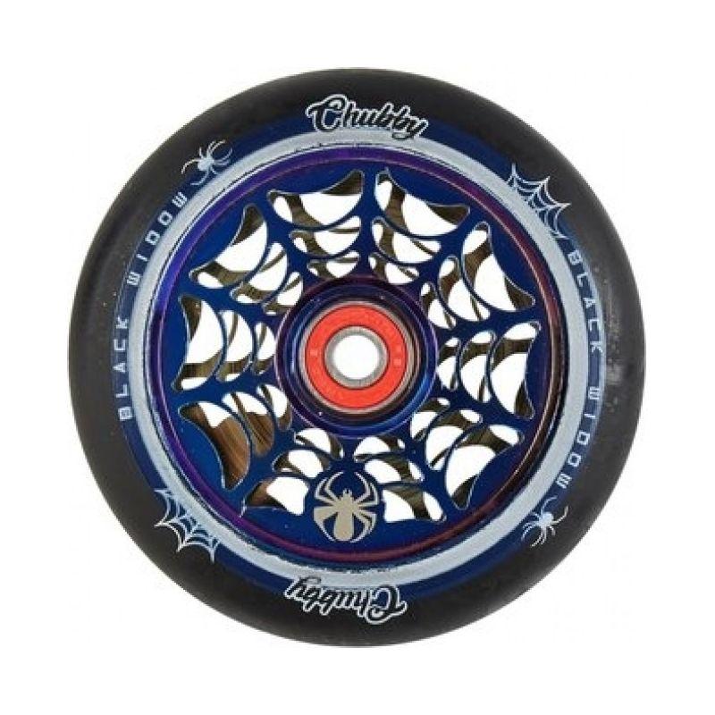 Chubby Black Widow 110mm Scooter Wheel - Black / Blue Chrome inc. ABEC 9 Bearings