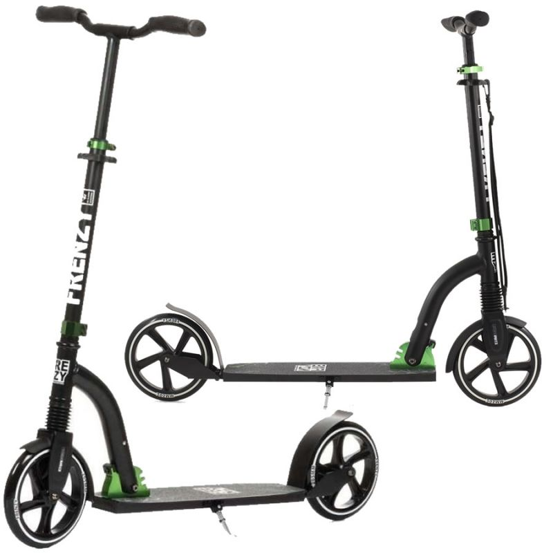 Frenzy 205mm Black / Green Suspension Folding Commuter Scooter