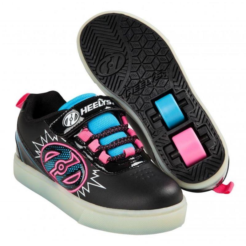 Heelys POW Shoes - Black / Neon Blue / Neon Pink
