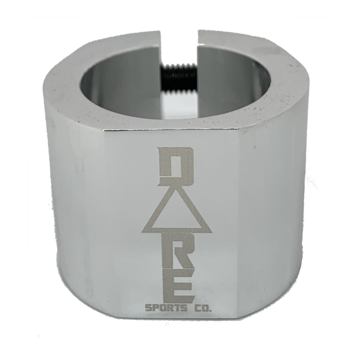 An image of Dare Warlord Standard Double Scooter Clamp - Chrome Silver