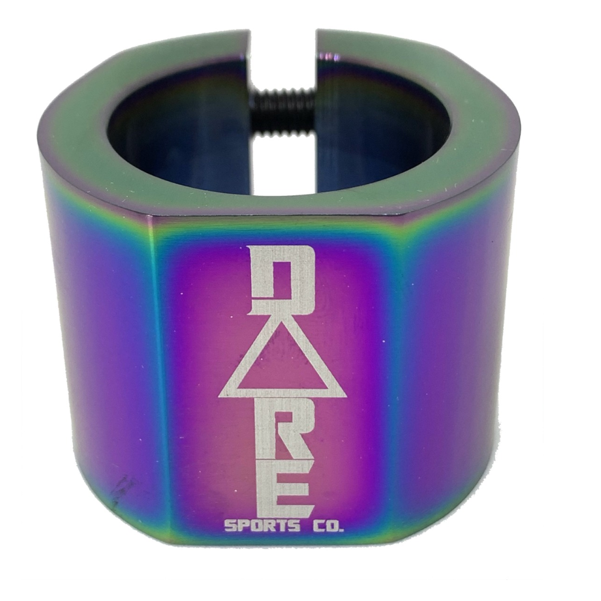 An image of Dare Warlord Standard Double Scooter Clamp - Neochrome Oil Slick