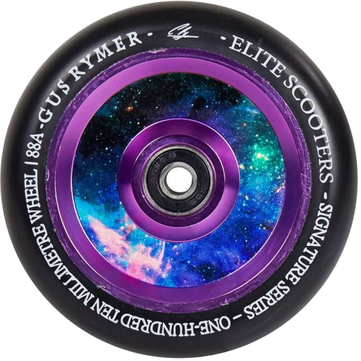 An image of Elite Air Ride Gus Rymer Signature 110mm Scooter Wheels - Black / Galaxy