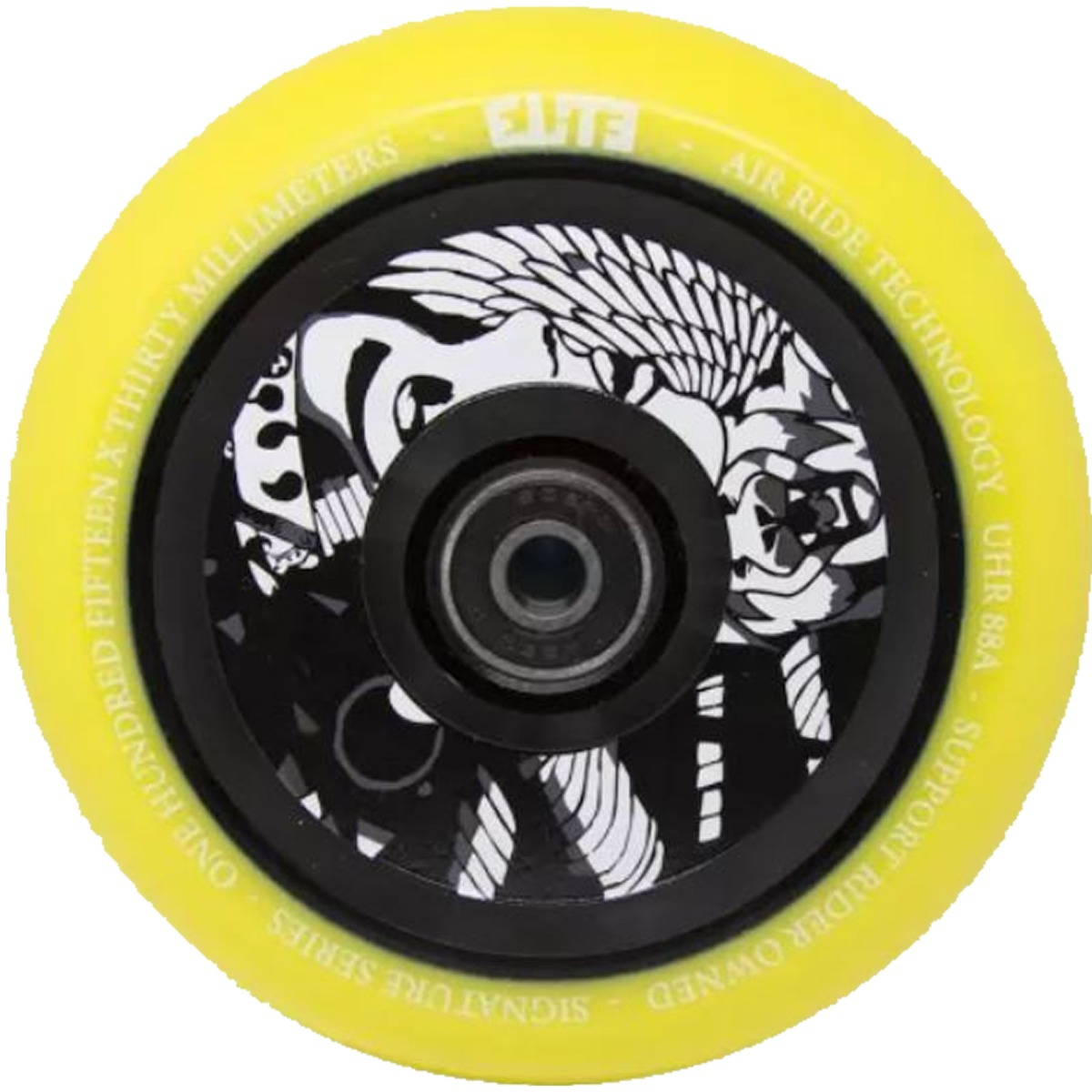 An image of Elite X Supreme Air Ride 110mm Scooter Wheels - Yellow Black