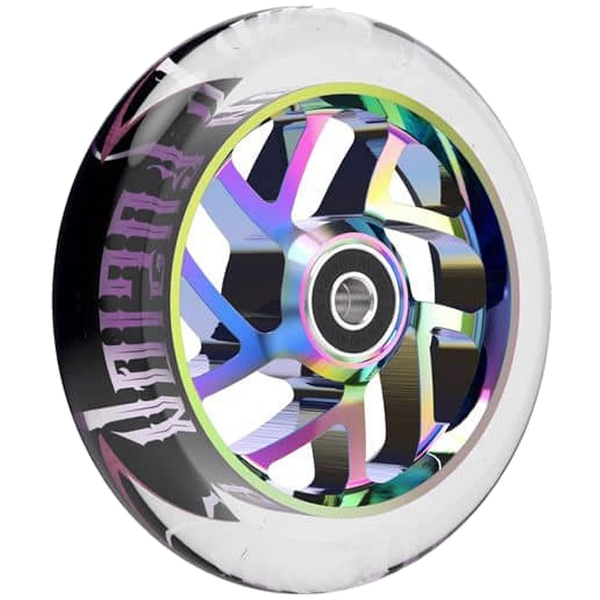 An image of Fuzion Flight 110mm Scooter Wheels - Clear Neochrome