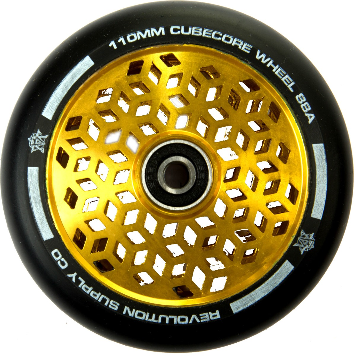 An image of Revolution Supply Cubed Core Ultralite 110mm Scooter Wheel - Gold