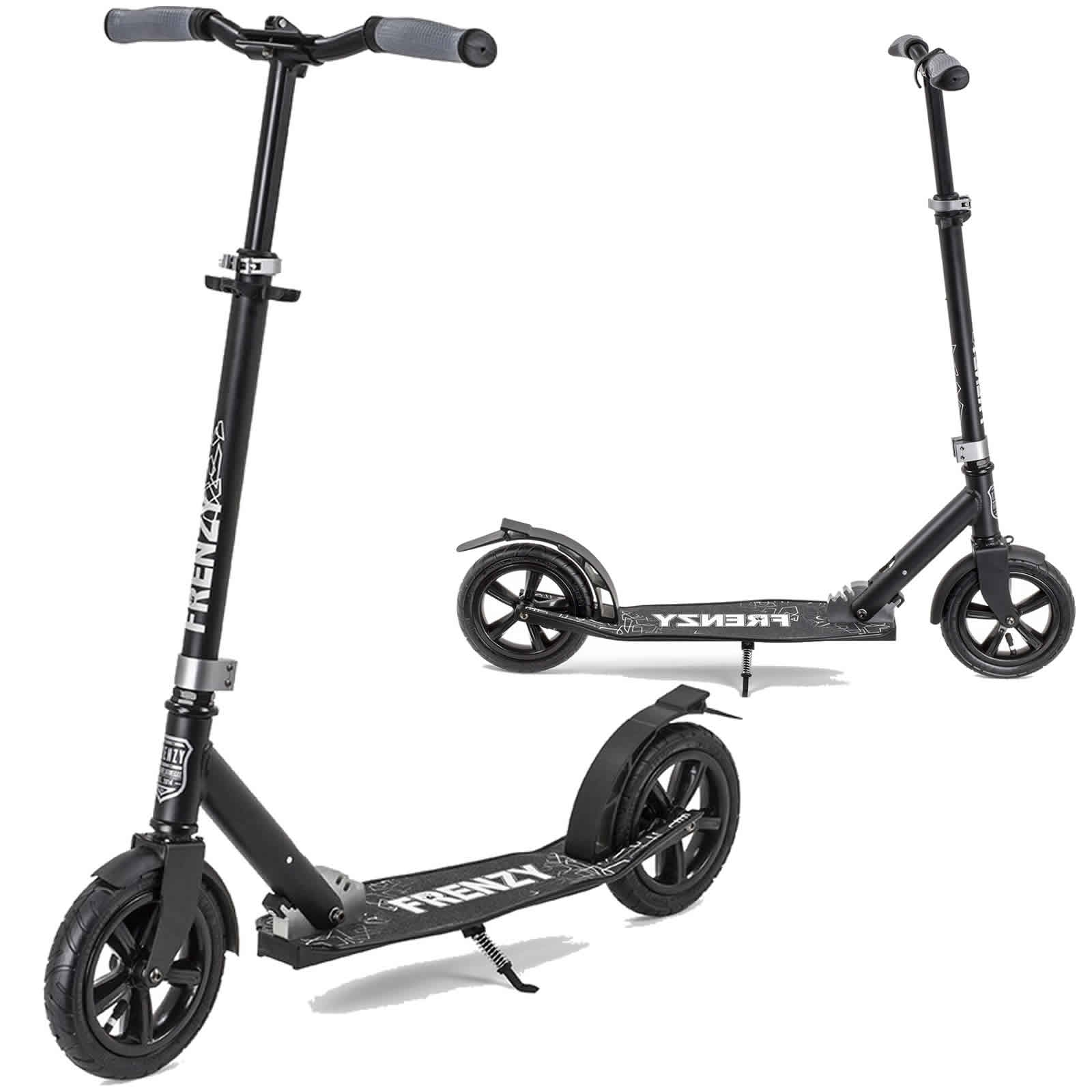 An image of Frenzy 205mm Pneumatic Folding Scooter - Black / Black