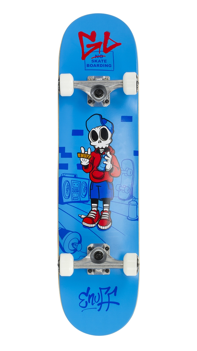 "An image of Enuff Skully 7.25"" Mini Complete Skateboard - Blue"