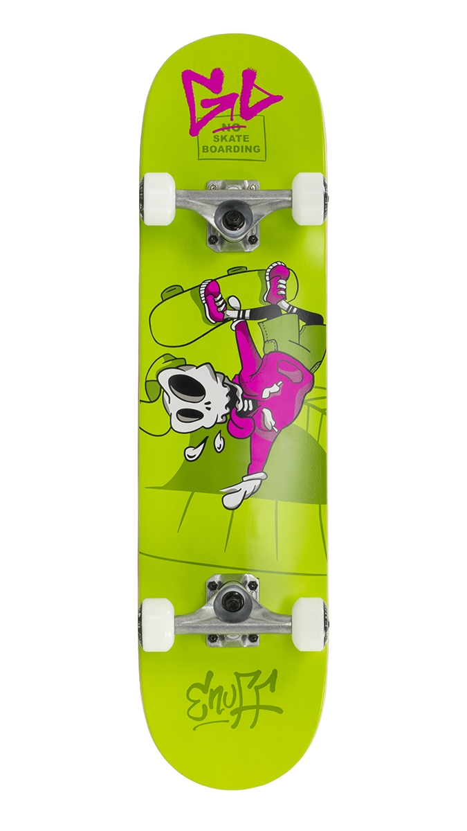 "An image of Enuff Skully 7.25"" Mini Complete Skateboard - Green"