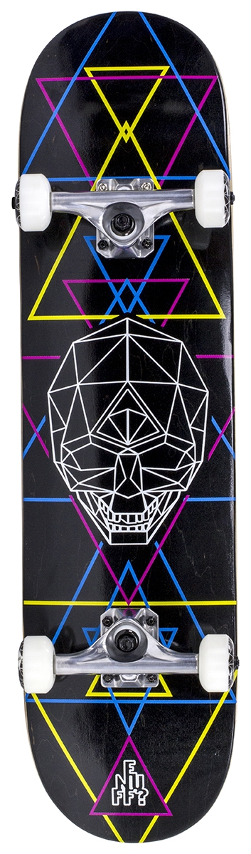 "An image of Enuff Geo Skull 8"" Complete Skateboard - CMYK"