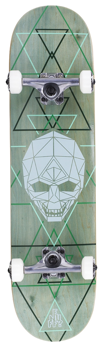 "An image of Enuff Geo Skull 8"" Complete Skateboard - Green"