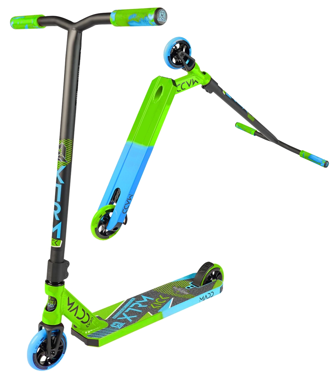 An image of Madd Gear MGP Kick Extreme V5 Scooter - Lime / Blue