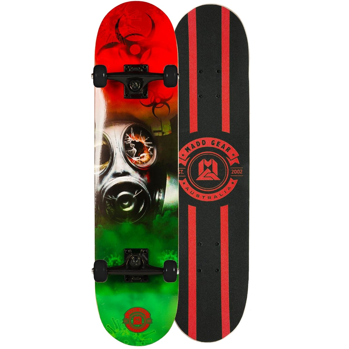 """An image of Madd Gear MGP Pro Series Outbreak Red Green Skateboard – 31"""" x 8"""""""