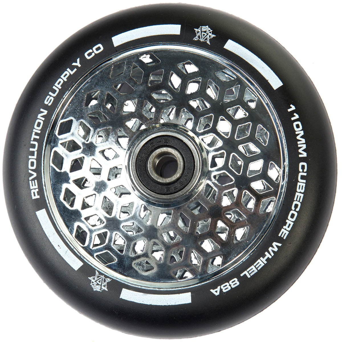 An image of Revolution Supply Cubed Core Ultralite 110mm Scooter Wheel - Chrome Silver